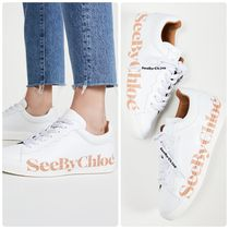 See by Chloe Round Toe Lace-up Casual Style Street Style Bi-color Plain