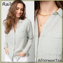 Rails Long Sleeves Plain Cotton Medium Handmade Shirts & Blouses