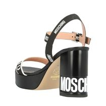 Moschino Open Toe Round Toe Casual Style Plain Leather Block Heels