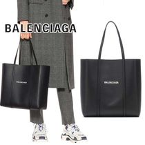 BALENCIAGA EVERYDAY TOTE Unisex Street Style A4 Plain Leather Totes