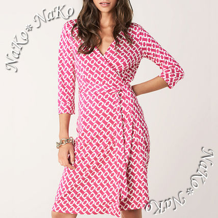 Wrap Dresses Short Silk V-Neck Cropped Elegant Style Dresses