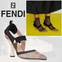 FENDI Casual Style Blended Fabrics Plain Party Style With Jewels