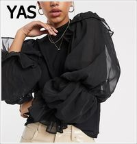 YAS Casual Style Long Sleeves Plain Puff Sleeves