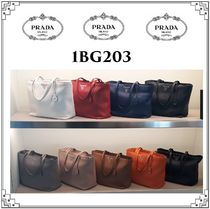 PRADA Plain Leather Totes
