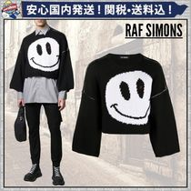 RAF SIMONS Crew Neck Pullovers Wool Bi-color Long Sleeves Oversized