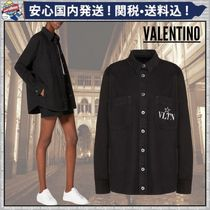 VALENTINO Short Denim Plain Oversized Logo Jackets