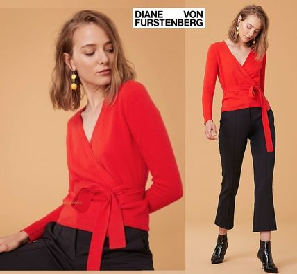 Short Cashmere Long Sleeves Plain Cropped