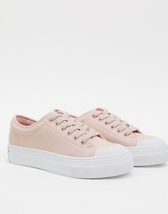 Round Toe Lace-up Casual Style Faux Fur Plain