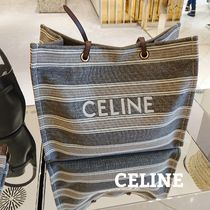 CELINE Cabas Stripes Casual Style Calfskin A4 Logo Totes