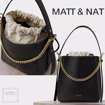 MATT&NAT Casual Style Faux Fur 2WAY Chain Plain Purses PVC Clothing
