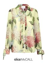 Alice Mccall Flower Patterns Long Sleeves Elegant Style Shirts & Blouses
