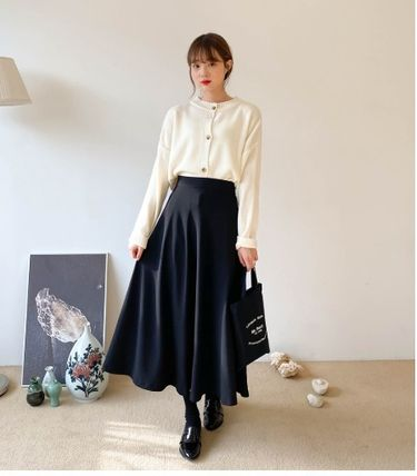Flared Skirts Casual Style Plain Long Party Style