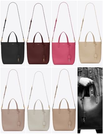 2WAY Plain Leather Logo Totes