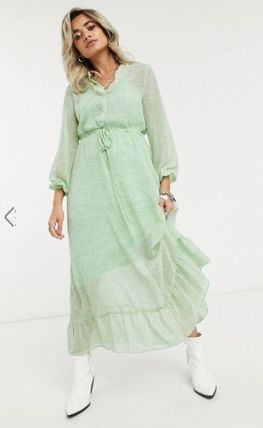 Flower Patterns Casual Style Long Sleeves Long Dresses