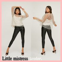 Little Mistress Dots Casual Style Long Sleeves Party Style Puff Sleeves
