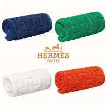 HERMES Cotton Logo Handkerchief