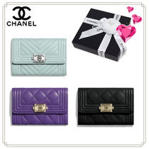 CHANEL BOY CHANEL Lambskin Plain Leather Card Holders