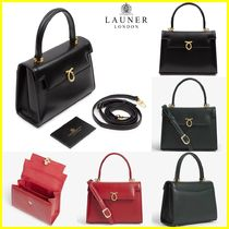 Launer Suede 2WAY Plain Leather Elegant Style Handbags