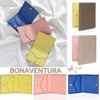 Street Style Bi-color Plain Leather Folding Wallet