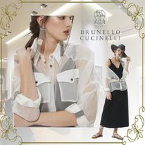 BRUNELLO CUCINELLI Silk Long Sleeves Plain Office Style Elegant Style