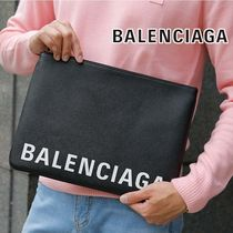 BALENCIAGA EVERYDAY TOTE Unisex Street Style Bag in Bag Plain Leather Clutches