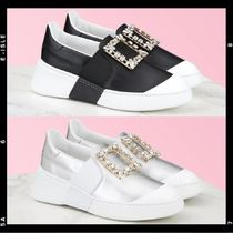 Roger Vivier Rubber Sole Casual Style Leather With Jewels Elegant Style