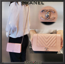 CHANEL CHAIN WALLET Lambskin Chain Plain Leather Chain Wallet Bridal Accessories