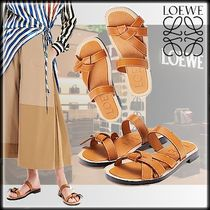 LOEWE Casual Style Unisex Street Style Plain Leather Block Heels