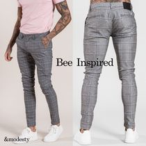 Bee Inspired Clothing Other Check Patterns Cotton Men Skinny Pants