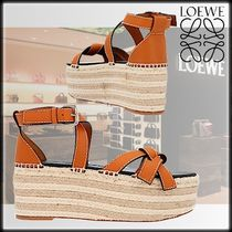 LOEWE Platform Casual Style Street Style Plain Leather Block Heels