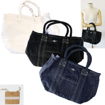 Ron Herman Casual Style Unisex Denim Plain Logo Totes