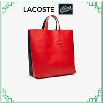 LACOSTE Casual Style A4 2WAY Plain Leather Elegant Style Totes
