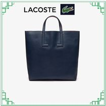LACOSTE Casual Style A4 2WAY Plain Leather Elegant Style Crossbody
