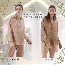 BRUNELLO CUCINELLI Flower Patterns Casual Style Silk Long Sleeves Elegant Style