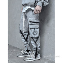LAKENZIE Sweat Street Style Plain Cotton Cargo Pants