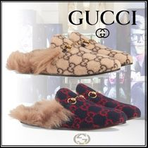 GUCCI Princetown Monogram Blended Fabrics Logo Shoes