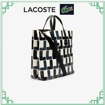 LACOSTE Monogram Casual Style A4 2WAY Leather Elegant Style Totes