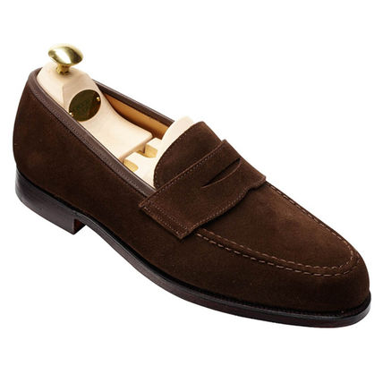 Loafers Suede Street Style Plain Leather Loafers & Slip-ons