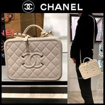 CHANEL ICON Casual Style Calfskin Blended Fabrics Vanity Bags Chain