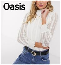 Oasis Casual Style Long Sleeves Plain Lace Shirts & Blouses