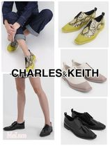 Charles&Keith Square Toe Plain Toe Rubber Sole Casual Style Enamel