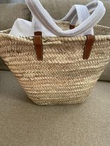 CELINE Triomphe Canvas Blended Fabrics A4 Plain Leather Logo Straw Bags