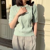 Cable Knit Casual Style Plain Medium Short Sleeves Sweaters
