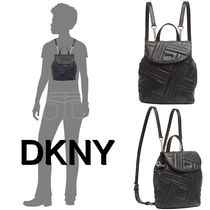 DKNY Casual Style Unisex Chain Leather Backpacks