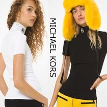 Michael Kors Short Casual Style Plain Short Sleeves Logo Turtlenecks