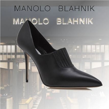 Manolo Blahnik Ankle & Booties Casual Style Street Style Plain Leather Pin Heels
