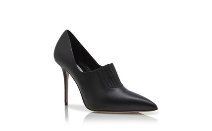 Manolo Blahnik Ankle & Booties Casual Style Street Style Plain Leather Pin Heels 3