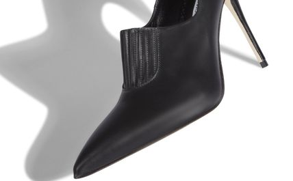 Manolo Blahnik Ankle & Booties Casual Style Street Style Plain Leather Pin Heels 6