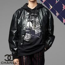CHANEL Short Street Style Plain Leather Jackets