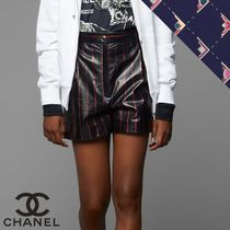 CHANEL Short Stripes Casual Style Street Style Leather Party Style